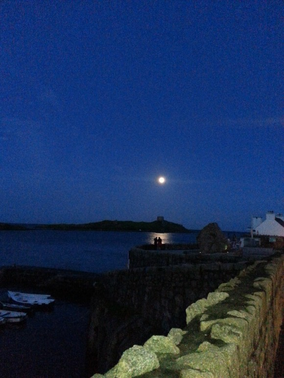 August 10 supermoon above Dalkey Island in Ireland, by Margaret Gray.