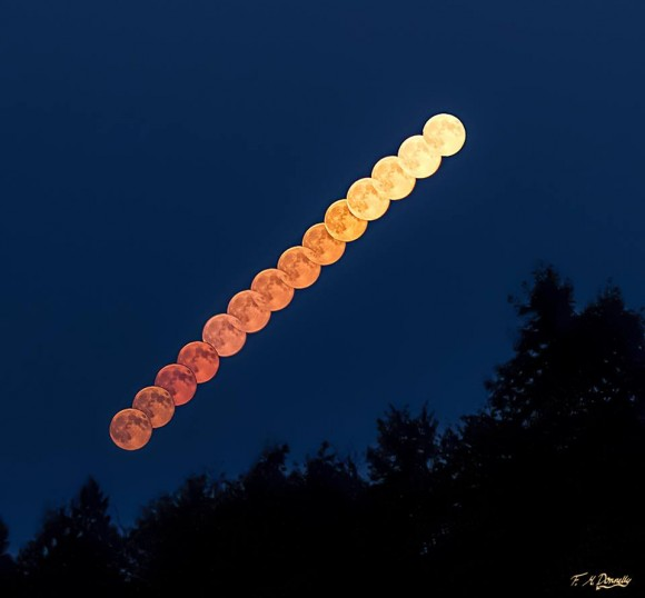 Multiple exposures creating a line of moons rising at an angle, colored orange to gold.