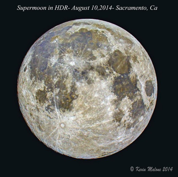August 10 supermoon in HDR over Sacramento, California by Kevin Malone.