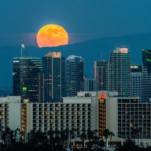 Big golden moon rising above a dense cityscape of skyscrapers.