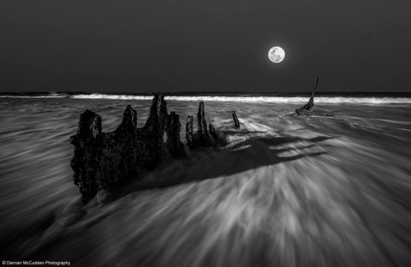 Supermoon and shipwreck August 10, 2014 by Damian McCudden.
