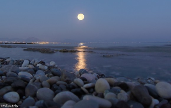 August 10, 2014 supermoon over Loutraki, Greece by Mellissa Briley.