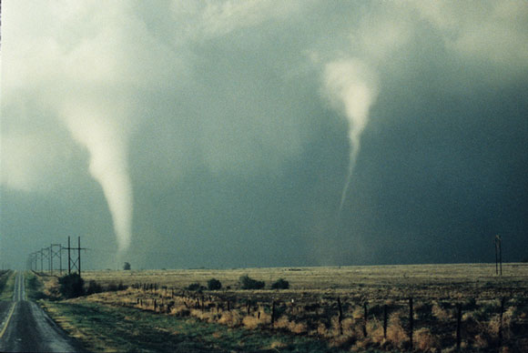 Two tornadoes over the Great Plains. Image Credit: NOAA Legacy Photo; OAR/ERL/Wave Propagation Laboratory.