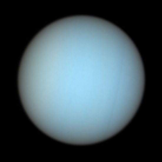 Uranus in natural color, via the Hubble Space Telescope.  Read more about this image.