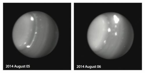 Massive storms on Uranus captured August 5 and 6, 2014 as seen by Keck Observatory. Both images were taken by Imke de Pater (UC Berkeley), Larry Sromovosky and Pat Fry (U. Wisconsin), and Heidi Hammel (AURA) using the near-infrared camera NIRC2 with adaptive optics on the 10-m Keck II telescope at a wavelength of 1.6 micron.