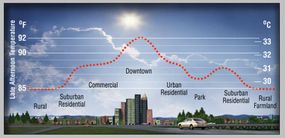 Diagram of an urban heat island. Image Credit: Heat Island Group, Lawrence Berkeley National Laboratory.