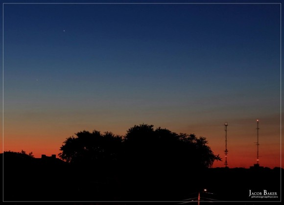 View larger. | Look in the upper left of this photo for Venus and Jupiter.  Venus is above and to the right of Jupiter.  Photo taken August 14, 2014 by Jacob Baker in Fall River, Massachusetts.  Thank you, Jacob.