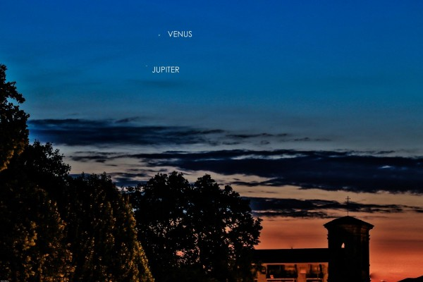 View larger. | Venus and Jupiter as captured on August 17, 2014 by Marco Mereu at Villastellone (House of the Lucky Star) in Turin, Italy.