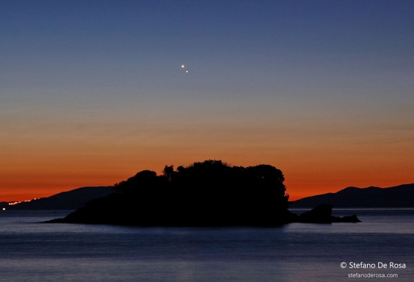 Venus and Jupiter as captured by EarthSky Facebook friend Stefano De Rosa on Isola d'Elba in Italy.