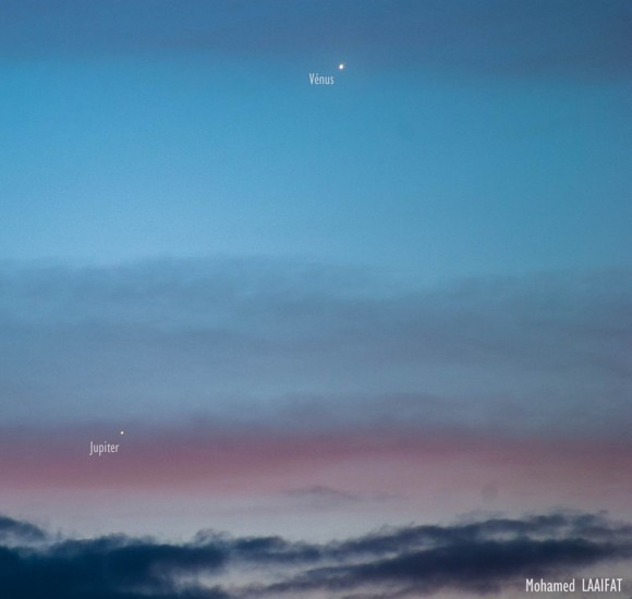 EarthSky Facebook friend Mohamed Laaifat Photographies in Normandy, France captured this photo of Venus and Jupiter on August 16, 2014.  Thank you, Mohamed.