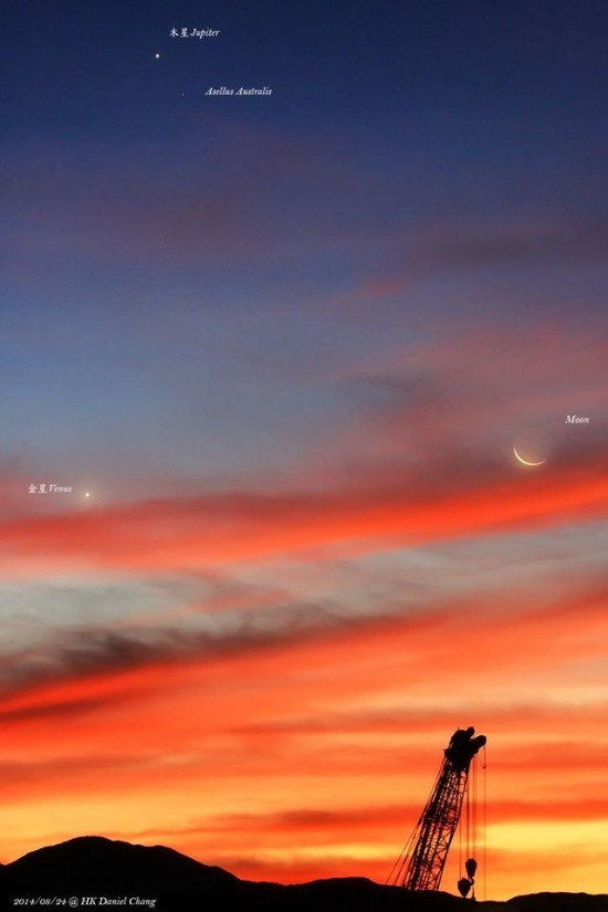 Daniel Chang in Hong Kong caught this photo of the planets Jupiter and Venus, and the waning crescent moon, on the morning of Sunday, August 24, 2014.
