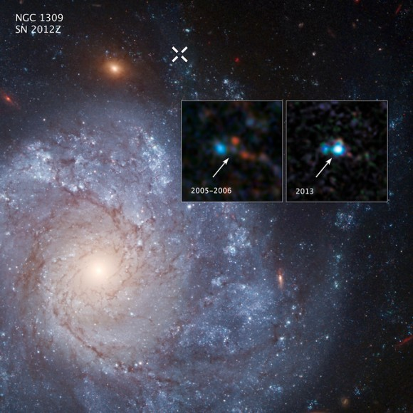 The two inset images show before-and-after images captured by NASA's Hubble Space Telescope of Supernova 2012Z in the spiral galaxy NGC 1309. The white X at the top of the main image marks the location of the supernova in the galaxy.  Image via NASA, ESA