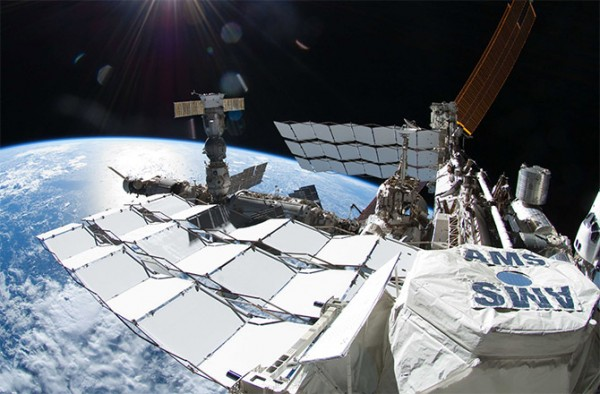 The Alpha Magnetic Spectrometer (AMS-02) experiment is a state-of-the-art particle physics detector that is constructed, tested and operated by an international team composed of 60 institutes from 16 countries and organized under United States Department of Energy (DOE) sponsorship. It is attached to the International Space Station and has been in operation since 2011.  Image via NASA