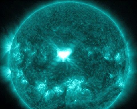 An intense, X-class solar flare occurred on Wednesday, September 10, 2014.  It from AR2158, shown here as a bright area on the sun. This is the second major flare in two days from AR2158.  Watch for auroras both Thursday and Friday nights.  Image via NASA.