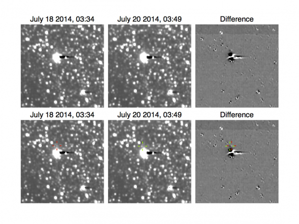 Detection of tiny Pluto moon Hydra in July 2014 by New Horizons spacecraft.  Image via NASA / JHU / APL / SRI. New Horizons spacecraft.