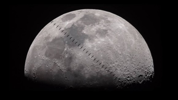 View larger. | The International Space Station crosses the face of the moon on September 3, 2014.  Photo by Colin Legg.  Visit Colin Legg Photography on Facebook.