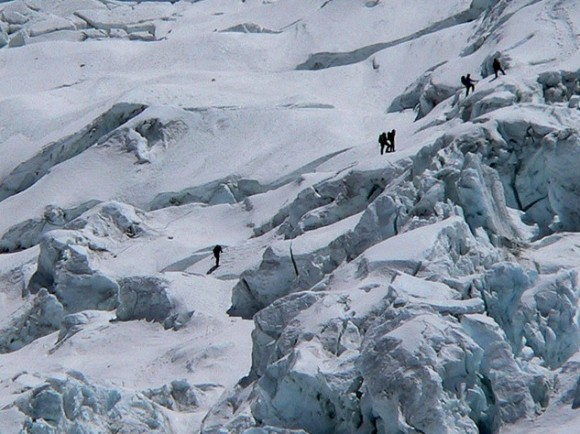 The Khumbu Icefall is a notoriously dangerous part of Mount Everest. Sixteen Nepalese guides died here on April 18 in one of the worst accidents in the mountain's history. Photo credit: Mahatma4711