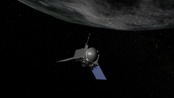 Artist's concept of NASA's OSIRIS-REx spacecraft preparing to take a sample from asteroid Bennu.  Image via NASA/Goddard