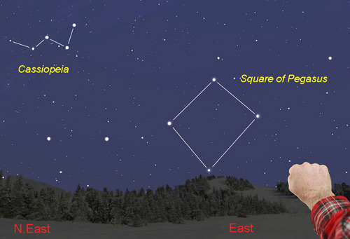 Chart of Cassiopeia and Great Square with N east and east marked and man's fist for measurement.