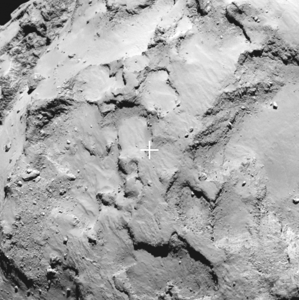 Closeup on Site J, the landing site for the Philae lander in ESA's exciting Rosetta comet mission.