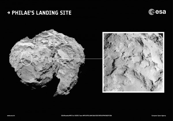 ESA has announced the Philae lander's touch down point.  It's Site J!