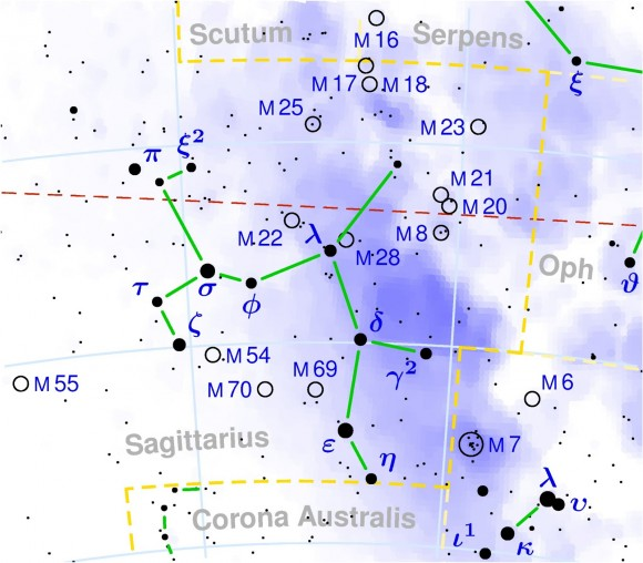 Map showing the constellation Sagittarius and the Lagoon and Trifid nebulae.  The Lagoon is M8.  The Trifid is M20.  Map via amateurstargazing.blogspot