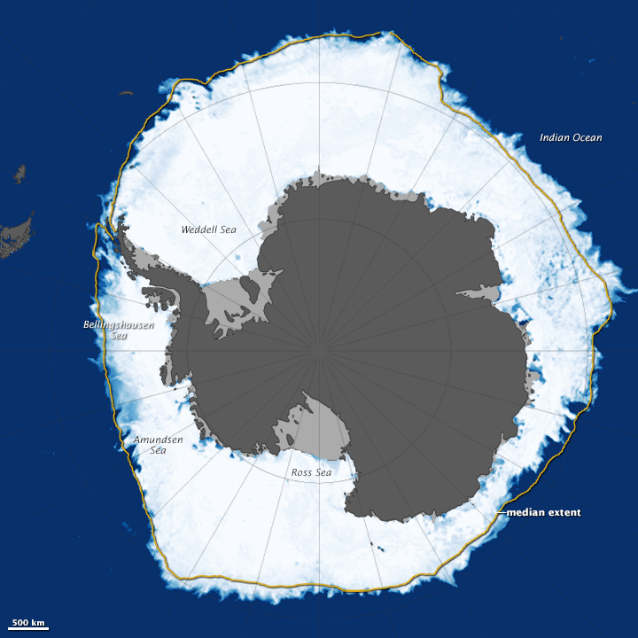 This map, based on data from the AMSR2 sensor, shows Antarctic sea ice on September 19, 2014. Image credit: NASA