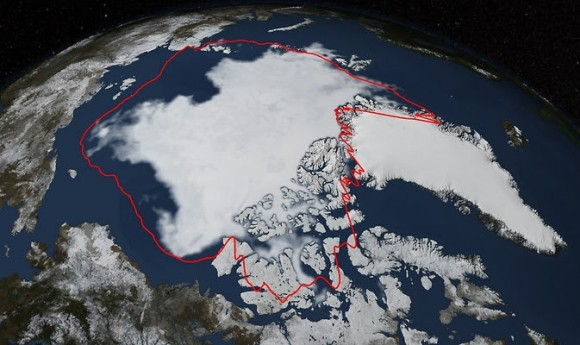 Arctic sea ice hit its annual minimum on Sept. 17, 2014. The red line in this image shows the 1981-2010 average minimum extent. Data provided by the Japan Aerospace Exploration Agency GCOM-W1 satellite. Image credit: NASA/Goddard Scientific Visualization Studio