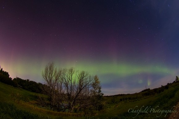 View larger. | Colin Chatfield near Saskatoon, SK, Canada captured this aurora Friday morning.  Taken with a Canon 7D and Tokina 10-17mm fisheye lens at 10mm, f/3.5, 20 sec exp, ISO 800.  Visit Colin Chatfield on Facebook.