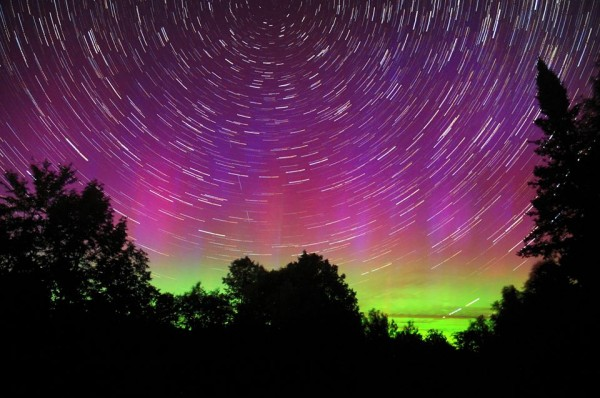 Star trails and the September 12 aurora, as captured by Mike Lewinski in Maine.