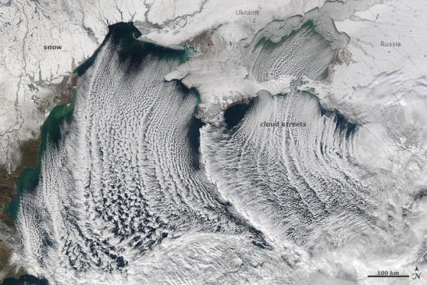 NASA's Aqua satellite captured this image of cloud streets over the Black Sea on January 8, 2015.  NASA Earth Observatory image courtesy Jeff Schmaltz LANCE/EOSDIS MODIS Rapid Response Team, GSFC.