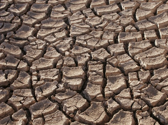 Cracked, dry earth is common throughout California's drying waterways and reservoirs. Photo credit: Wikimedia Commons