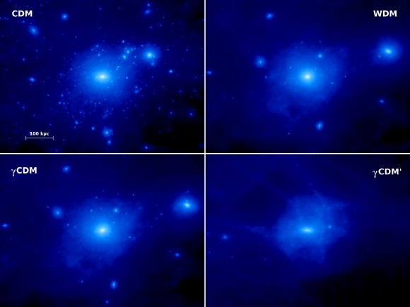 Simulated distribution of dark matter in a galaxy like our Milky Way.  Top left: standard, non-interacting dark matter.  Top right: warm dark matter.  Bottom: the new dark matter model that interacts with the photon background. Smaller structures are erased up to the point where, in the most extreme model (bottom right), the galaxy is completely sterilized.  Image via Durham University.