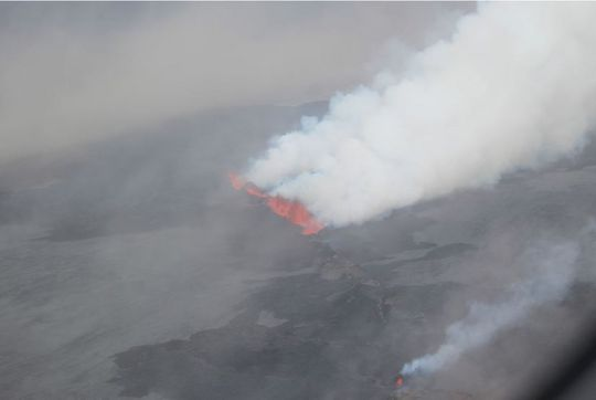 White plume from the active fissure at Holuhraun in Iceland.