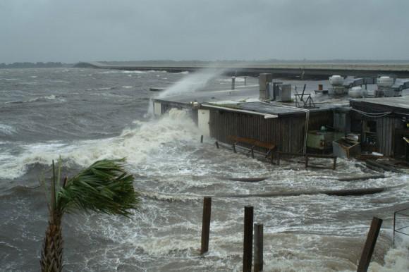 Storm surge from Hurricane Dennis on July 10, 2005, near Panacea, Florida.  Photo via USGS