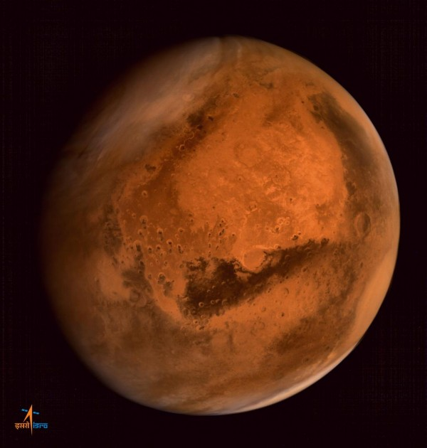 View larger. | Mars, from India's Mars Orbiter Mission.