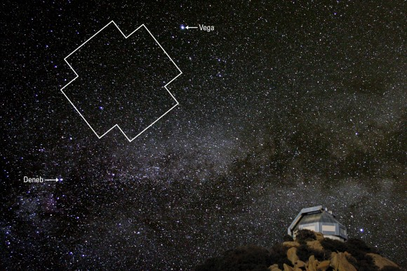 The Kepler field of view, located between two bright stars in the summer triangle, rising over the WIYN telescope in southern Arizona.