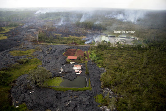 A home destroyed by the new lava flow at Kilauea. Image Credit: U.S. Geological Survey.