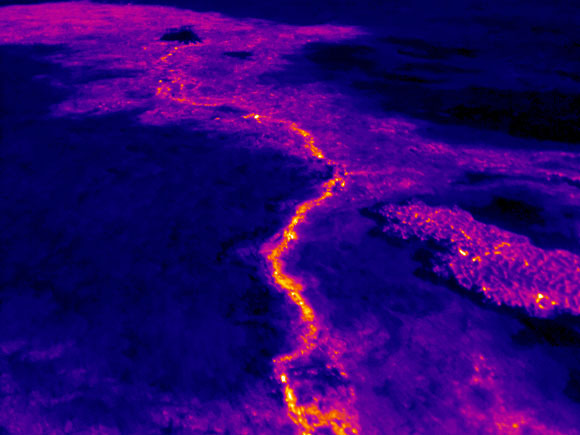 Thermal image of the new lava flow at Kilauea. Image Credit: USGS.