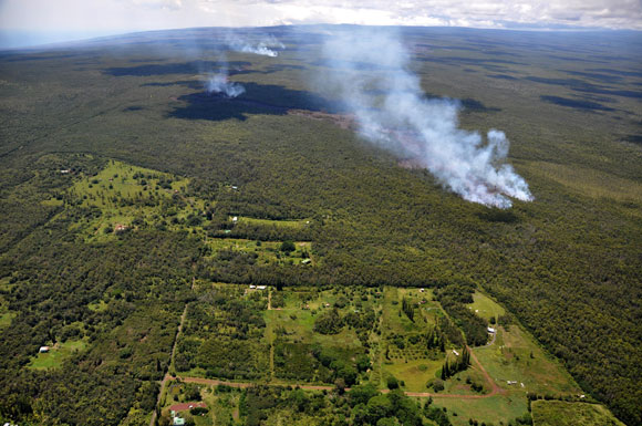 Smoke plumes caused by the new lava flow at Kilauea on September 12, 2014. Image Credit: USGS.