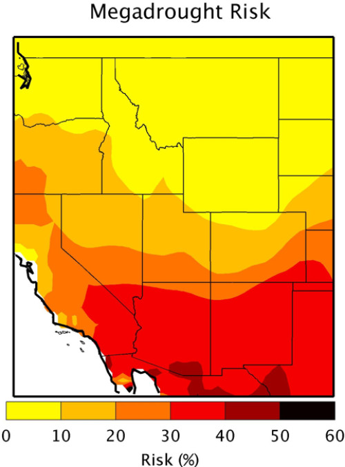 Risk of megadrought in Southwestern U.S. Image credit: Toby Ault, Cornell University