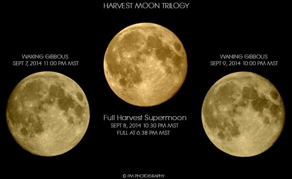 The moon before, during and after the crest of the moon's full moon, September 2014, by Pete Miramontes