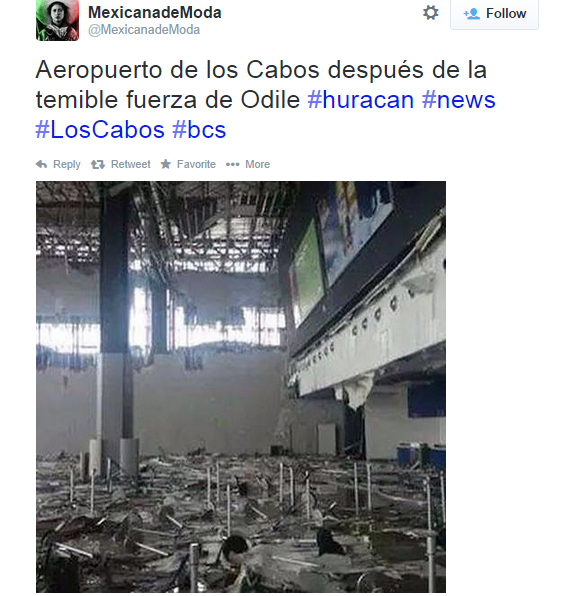 Extensive damage in the Los Cabos Airport. Image Credit: Twitter via @MexicanadeModa
