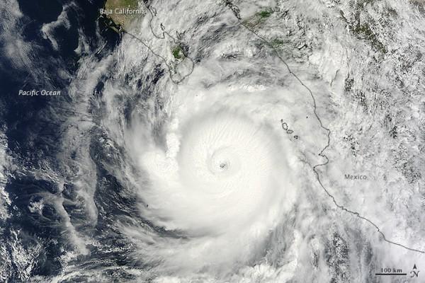 Hurricane Odile on September 14 via Jeff Schmaltz, LANCE/EOSDIS Rapid Response.