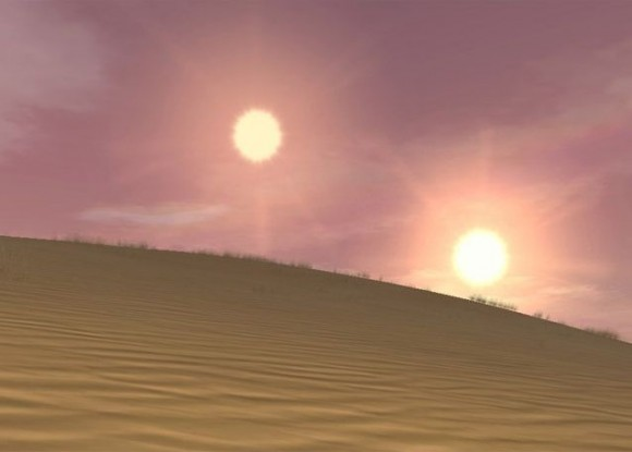 An artist's conception of a planet with two suns, via the NRCC