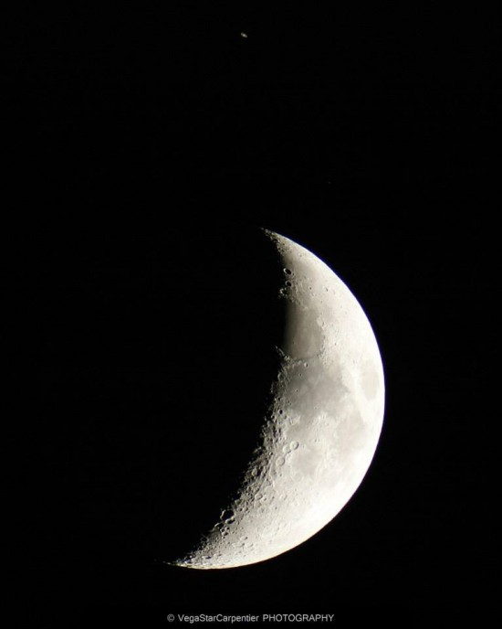 Vegastar Carpentier in France used a telescope to capture this view of Saturn (above) and the moon.