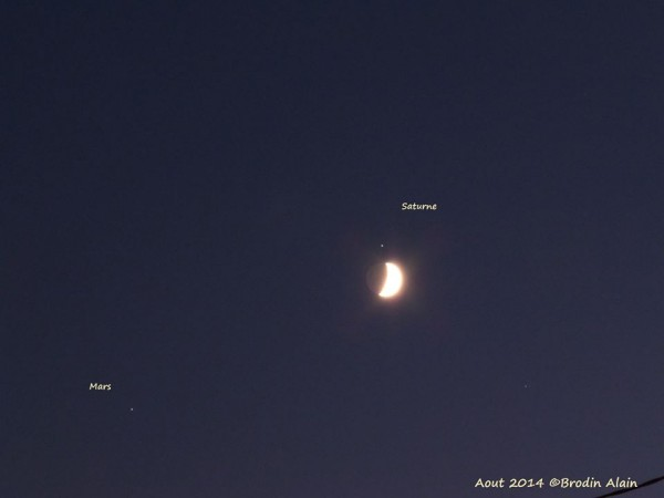 Brodin Alain in France captured this photo of the August 31 moon and planets
