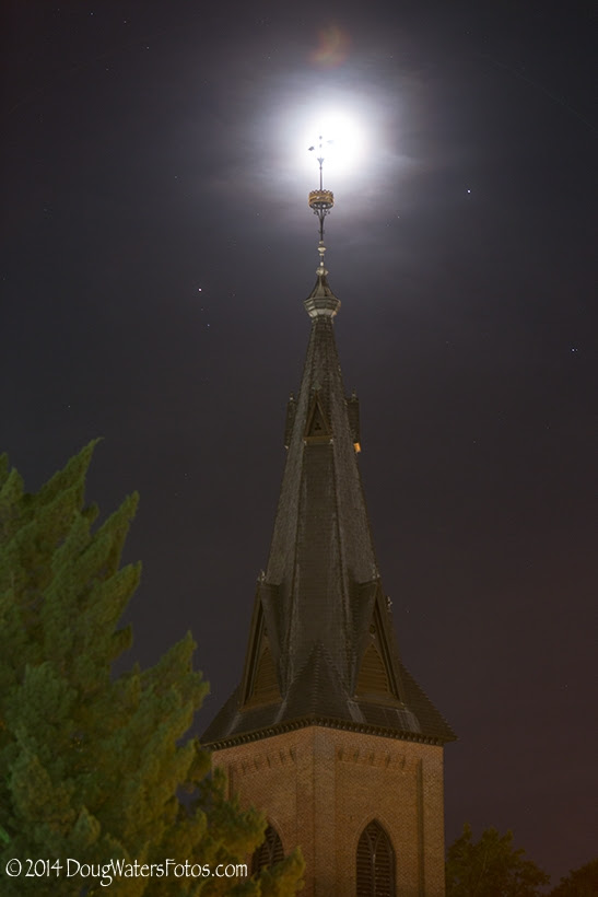 DougWatersFotos. caught the planets and moon over a church steeple in New Bern, North Carolina.