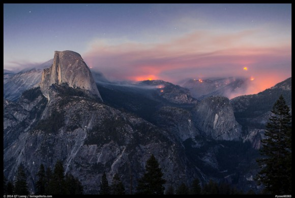 Half-Dome, forest fire, and moon rising. Yosemite National Park, California, USA, by QT Luong.  Visit his blog for more photos.