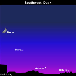 The planet Saturn and the star Antares will be hard to catch after sunset, because they follow the sun beneath the horizon before it gets good and dark.